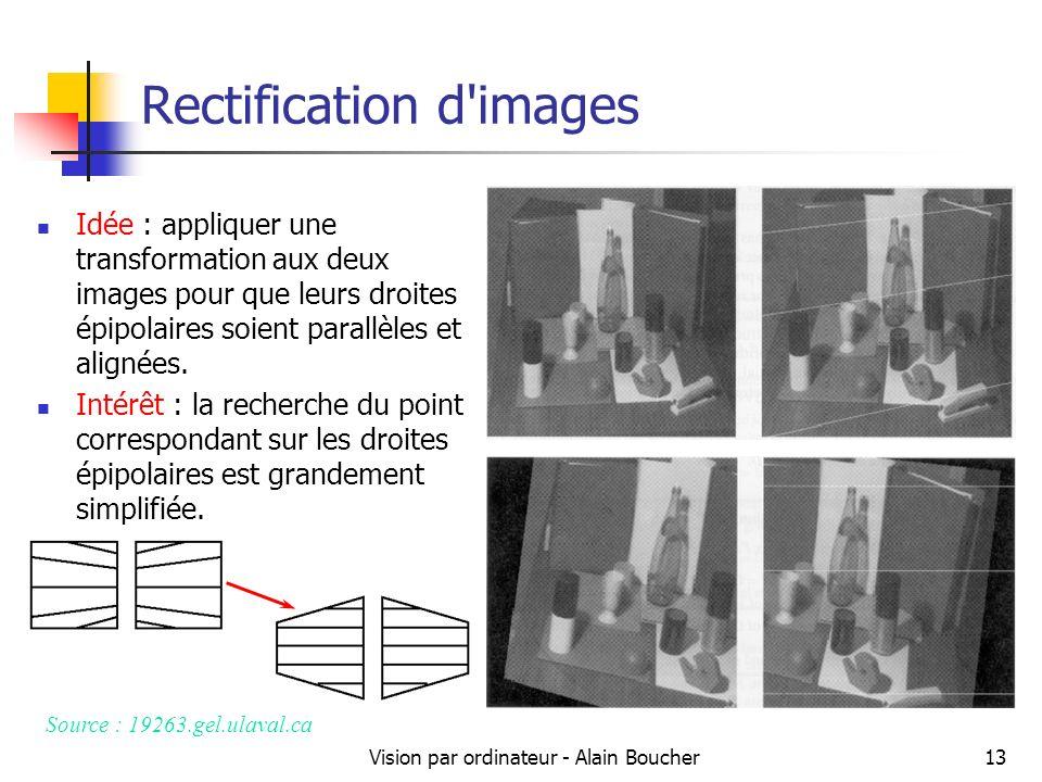 Vision par ordinateur - Alain Boucher13 Rectification d'images Source : 19263.gel.ulaval.ca Idée : appliquer une transformation aux deux images pour q