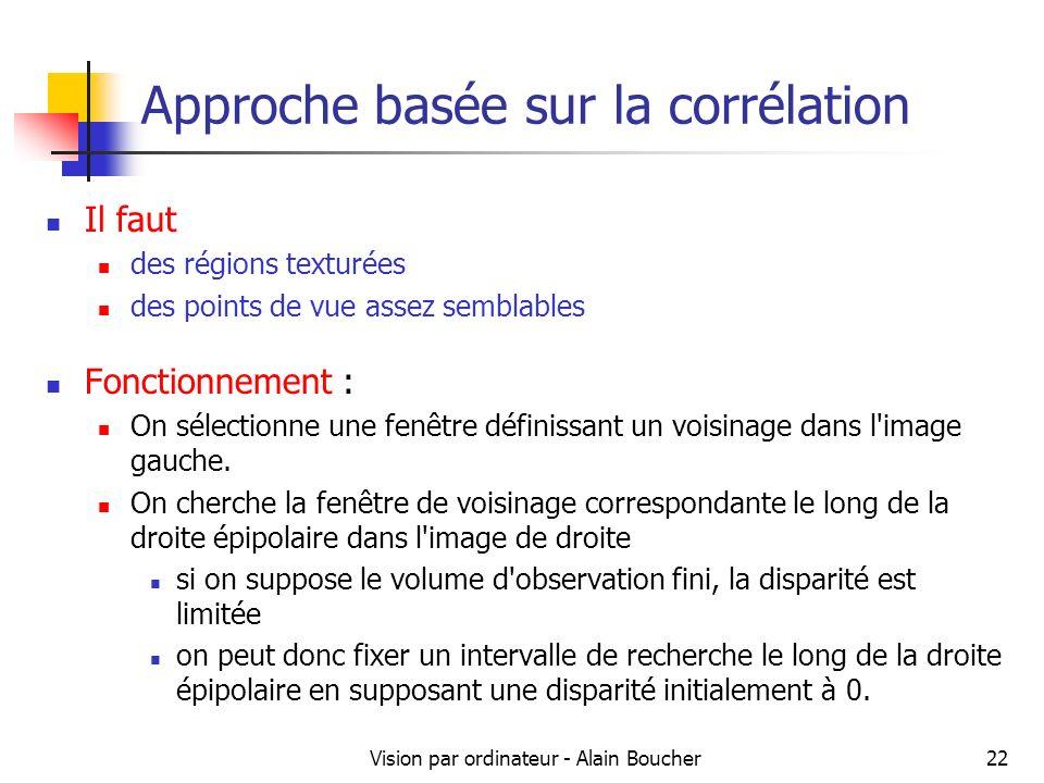 Vision par ordinateur - Alain Boucher22 Approche basée sur la corrélation Il faut des régions texturées des points de vue assez semblables Fonctionnem