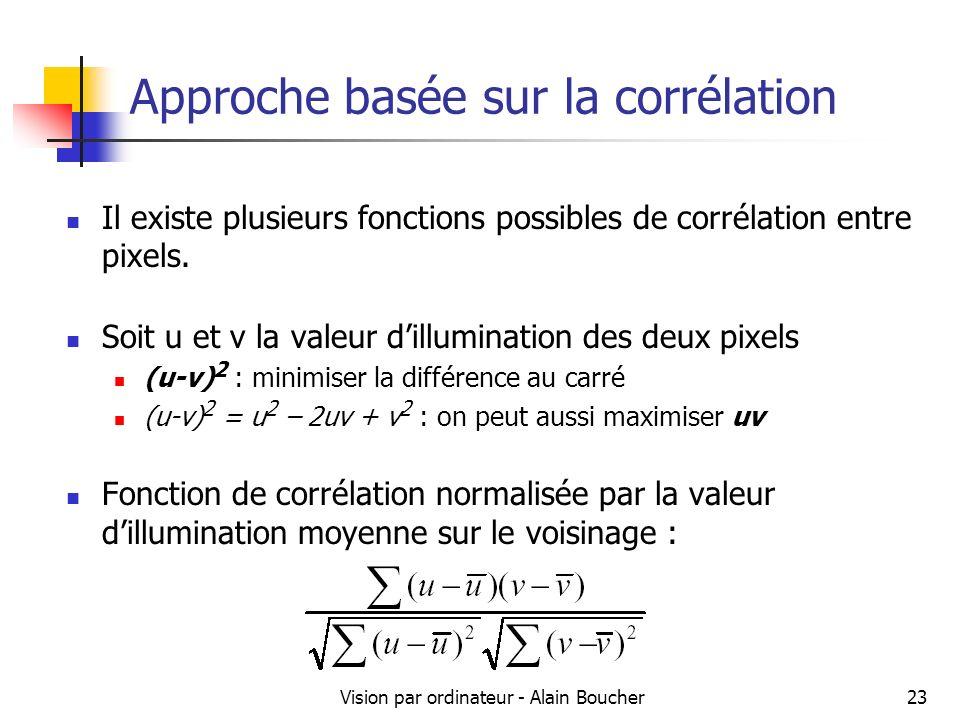 Vision par ordinateur - Alain Boucher23 Approche basée sur la corrélation Il existe plusieurs fonctions possibles de corrélation entre pixels. Soit u
