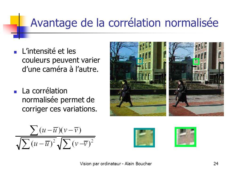 Vision par ordinateur - Alain Boucher24 Avantage de la corrélation normalisée Lintensité et les couleurs peuvent varier dune caméra à lautre. La corré