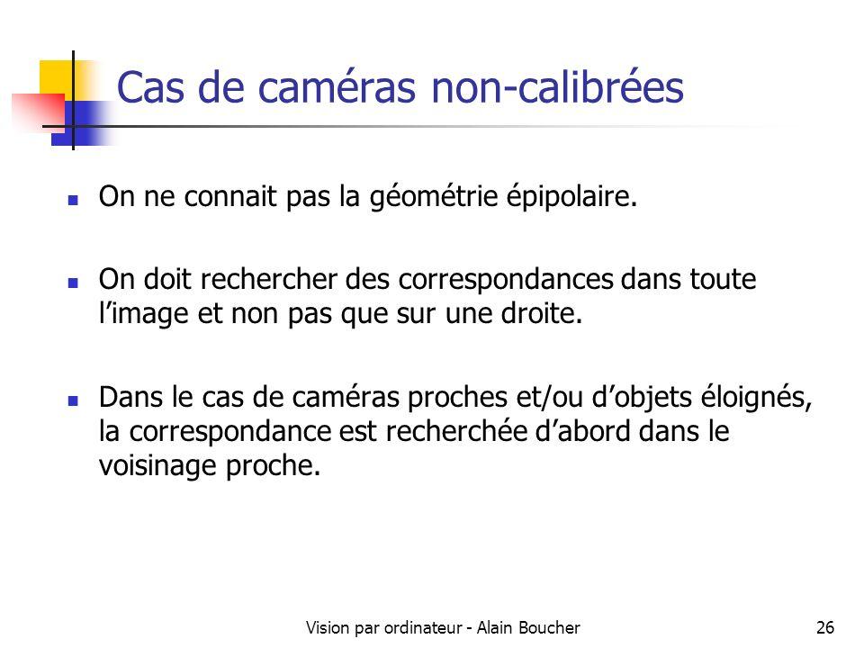 Vision par ordinateur - Alain Boucher26 Cas de caméras non-calibrées On ne connait pas la géométrie épipolaire. On doit rechercher des correspondances