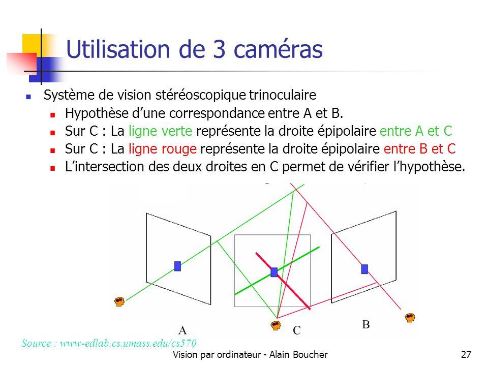 Vision par ordinateur - Alain Boucher27 Utilisation de 3 caméras Système de vision stéréoscopique trinoculaire Hypothèse dune correspondance entre A e