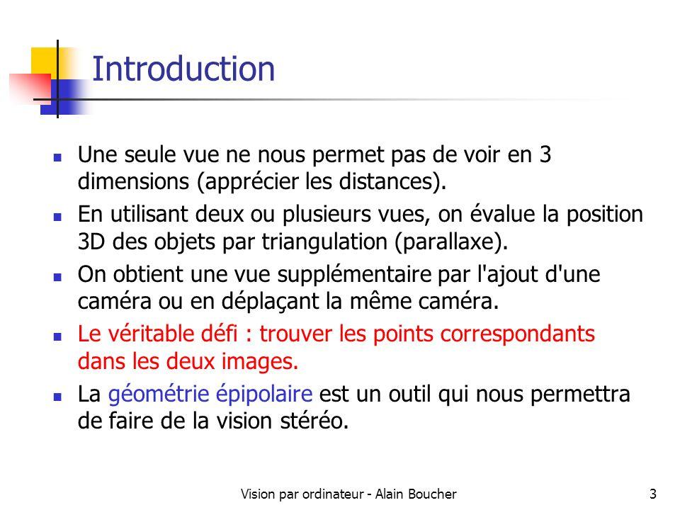 Vision par ordinateur - Alain Boucher4 Vision stéréoscopique Source : cis.poly.edu/cs664 Nous allons évaluer la position dun point dans lespace à partir de plusieurs caméras.
