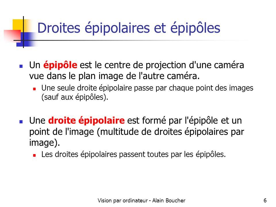 Vision par ordinateur - Alain Boucher7 Droites épipolaires et épipôles Un point dans limage gauche se situe sur la droite épipolaire correspondante dans limage droite
