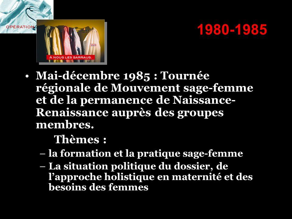 1980-1985 Mai-décembre 1985 : Tournée régionale de Mouvement sage-femme et de la permanence de Naissance- Renaissance auprès des groupes membres. Thèm