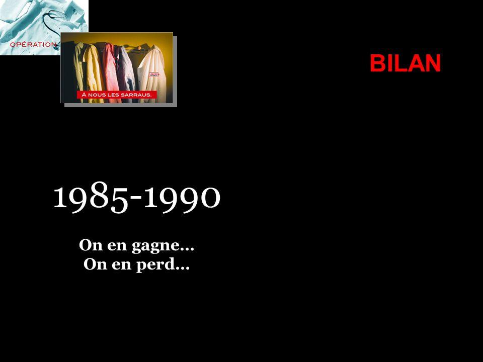 BILAN 1985-1990 On en gagne… On en perd…