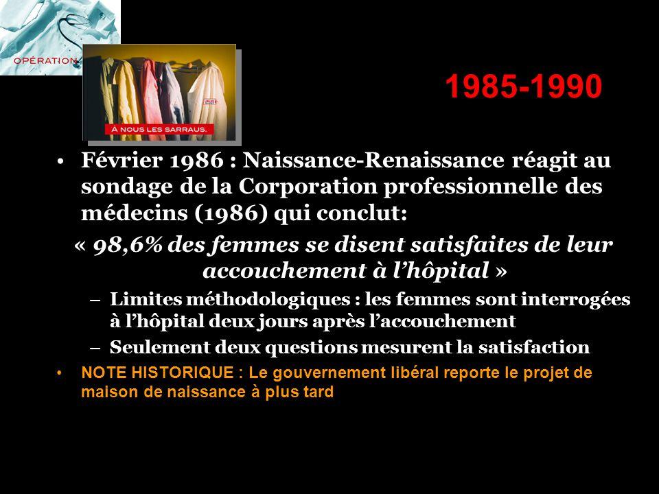 1985-1990 Février 1986 : Naissance-Renaissance réagit au sondage de la Corporation professionnelle des médecins (1986) qui conclut: « 98,6% des femmes