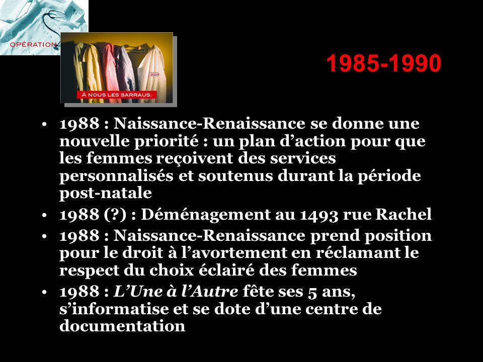 1985-1990 1988 : Naissance-Renaissance se donne une nouvelle priorité : un plan daction pour que les femmes reçoivent des services personnalisés et so