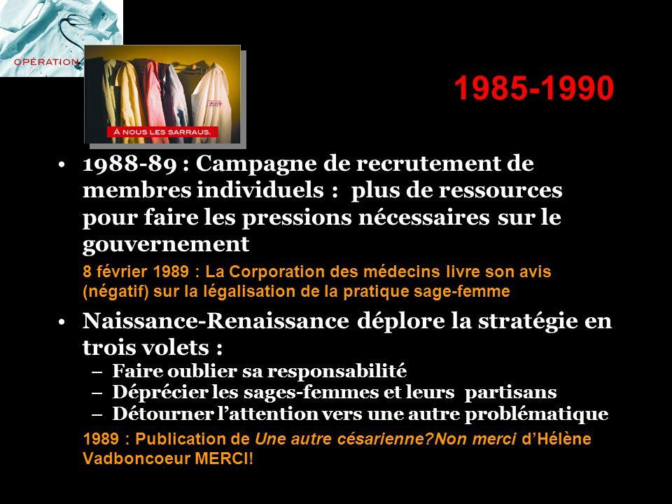 1985-1990 1988-89 : Campagne de recrutement de membres individuels : plus de ressources pour faire les pressions nécessaires sur le gouvernement 8 fév