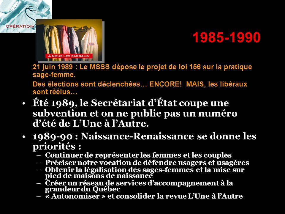 1985-1990 21 juin 1989 : Le MSSS dépose le projet de loi 156 sur la pratique sage-femme. Des élections sont déclenchées… ENCORE! MAIS, les libéraux so