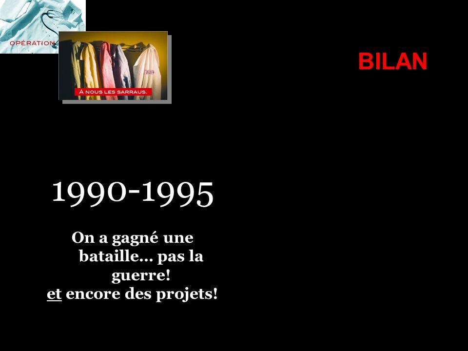 BILAN 1990-1995 On a gagné une bataille… pas la guerre! et encore des projets!