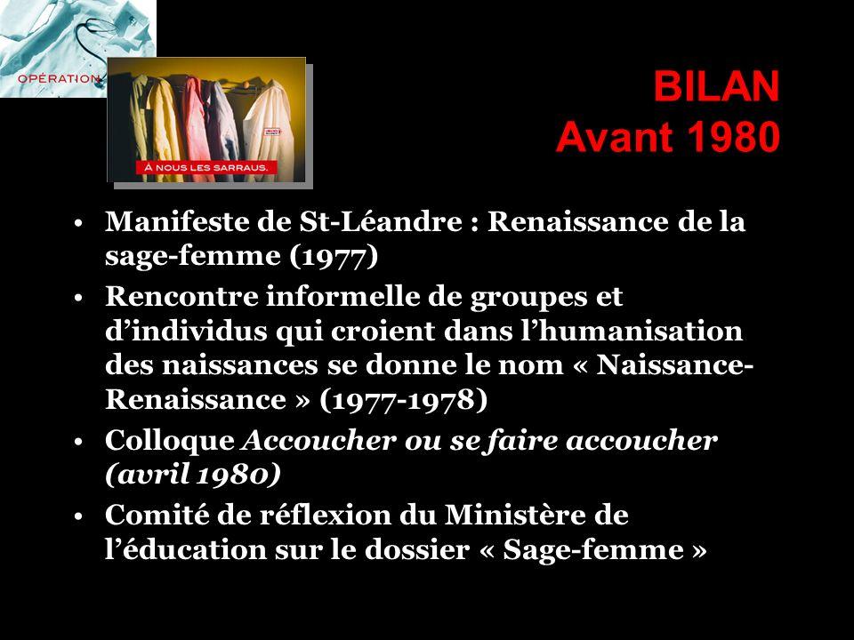 BILAN Avant 1980 Manifeste de St-Léandre : Renaissance de la sage-femme (1977) Rencontre informelle de groupes et dindividus qui croient dans lhumanis