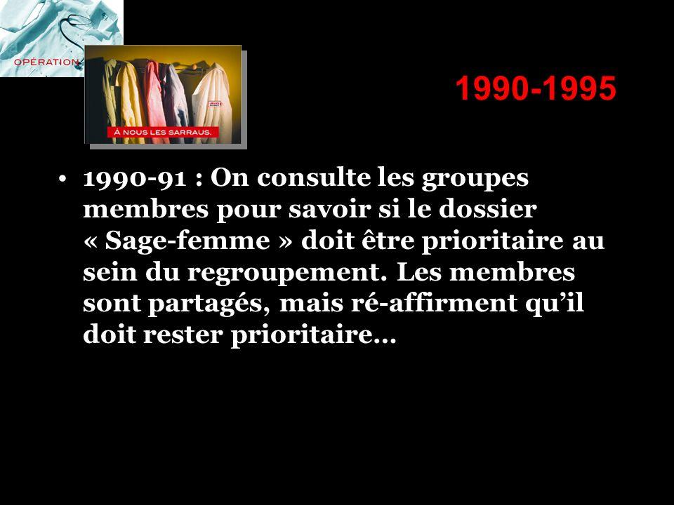 1990-1995 1990-91 : On consulte les groupes membres pour savoir si le dossier « Sage-femme » doit être prioritaire au sein du regroupement. Les membre