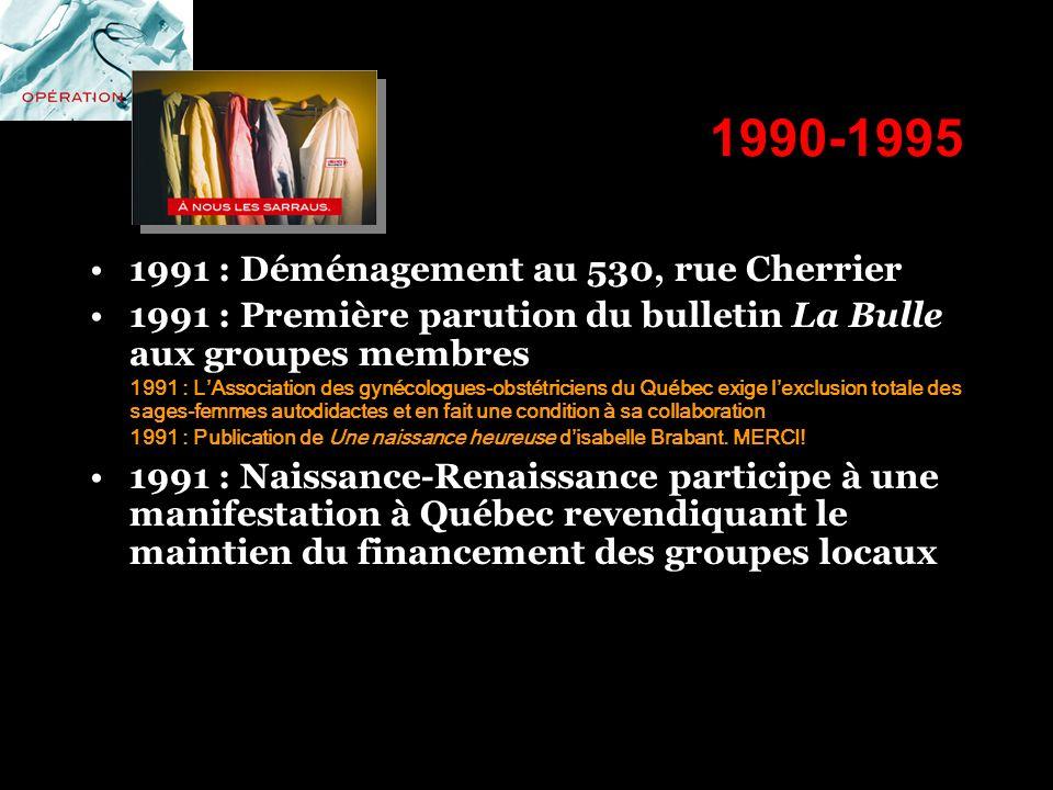 1990-1995 1991 : Déménagement au 530, rue Cherrier 1991 : Première parution du bulletin La Bulle aux groupes membres 1991 : LAssociation des gynécolog