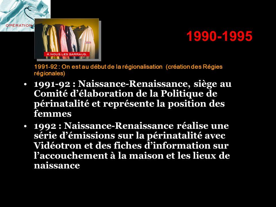1990-1995 1991-92 : On est au début de la régionalisation (création des Régies régionales) 1991-92 : Naissance-Renaissance, siège au Comité délaborati
