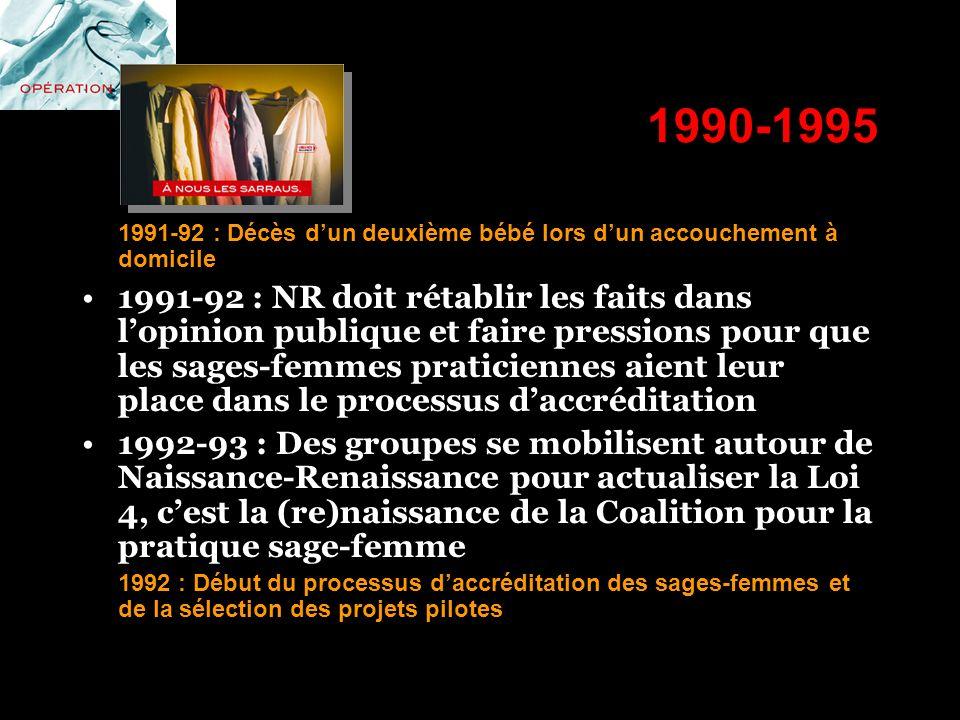 1990-1995 1991-92 : Décès dun deuxième bébé lors dun accouchement à domicile 1991-92 : NR doit rétablir les faits dans lopinion publique et faire pres