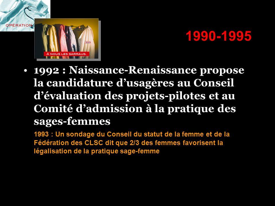 1990-1995 1992 : Naissance-Renaissance propose la candidature dusagères au Conseil dévaluation des projets-pilotes et au Comité dadmission à la pratiq