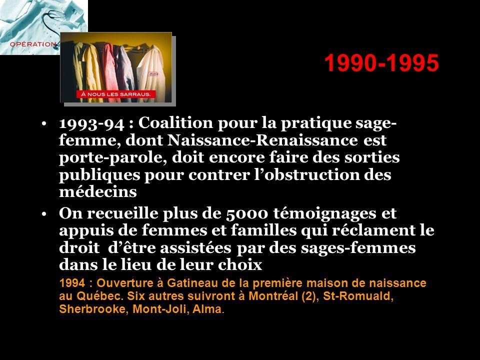 1990-1995 1993-94 : Coalition pour la pratique sage- femme, dont Naissance-Renaissance est porte-parole, doit encore faire des sorties publiques pour
