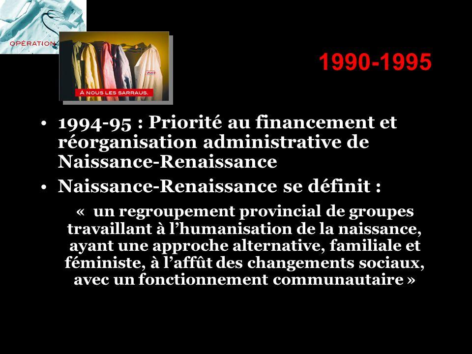 1990-1995 1994-95 : Priorité au financement et réorganisation administrative de Naissance-Renaissance Naissance-Renaissance se définit : « un regroupe