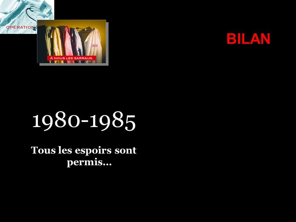 BILAN 1980-1985 Tous les espoirs sont permis…