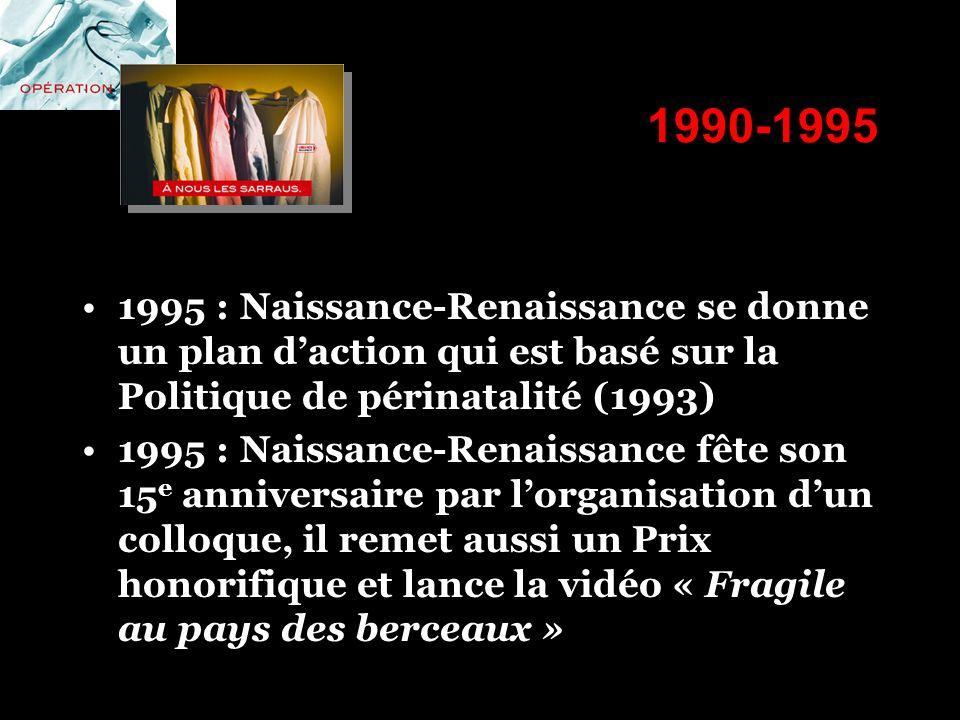 1990-1995 1995 : Naissance-Renaissance se donne un plan daction qui est basé sur la Politique de périnatalité (1993) 1995 : Naissance-Renaissance fête