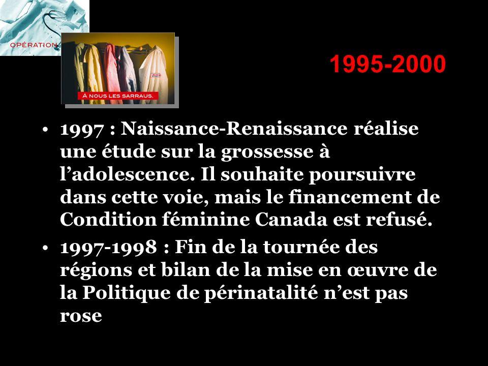 1995-2000 1997 : Naissance-Renaissance réalise une étude sur la grossesse à ladolescence. Il souhaite poursuivre dans cette voie, mais le financement