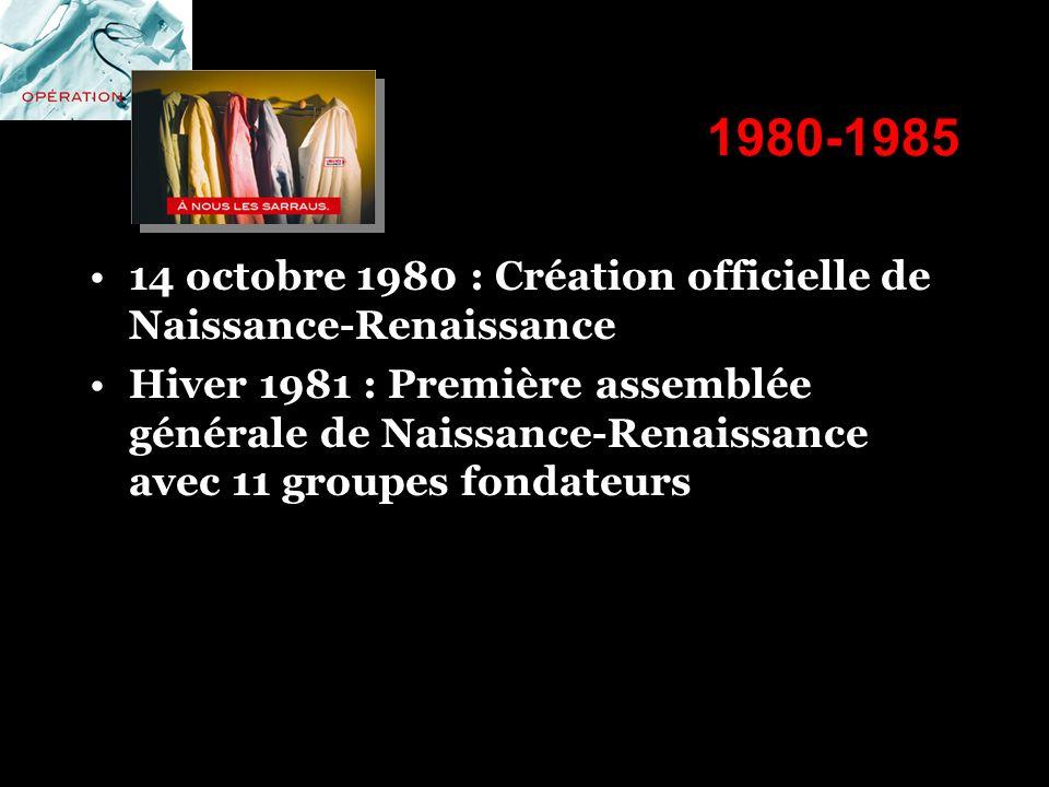 1980-1985 14 octobre 1980 : Création officielle de Naissance-Renaissance Hiver 1981 : Première assemblée générale de Naissance-Renaissance avec 11 gro