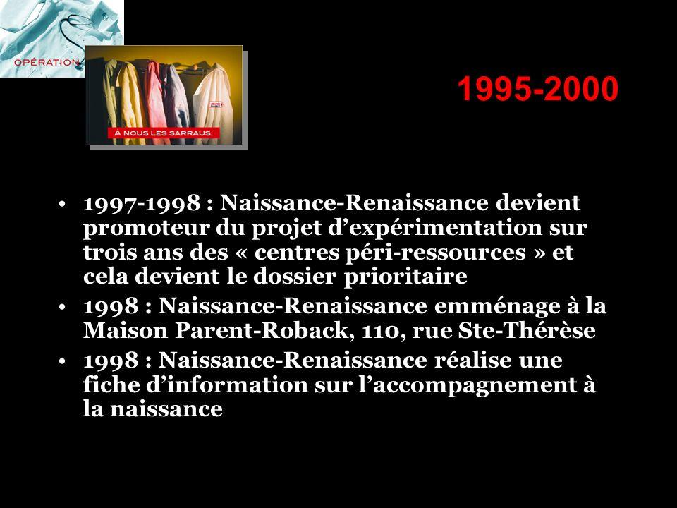 1995-2000 1997-1998 : Naissance-Renaissance devient promoteur du projet dexpérimentation sur trois ans des « centres péri-ressources » et cela devient