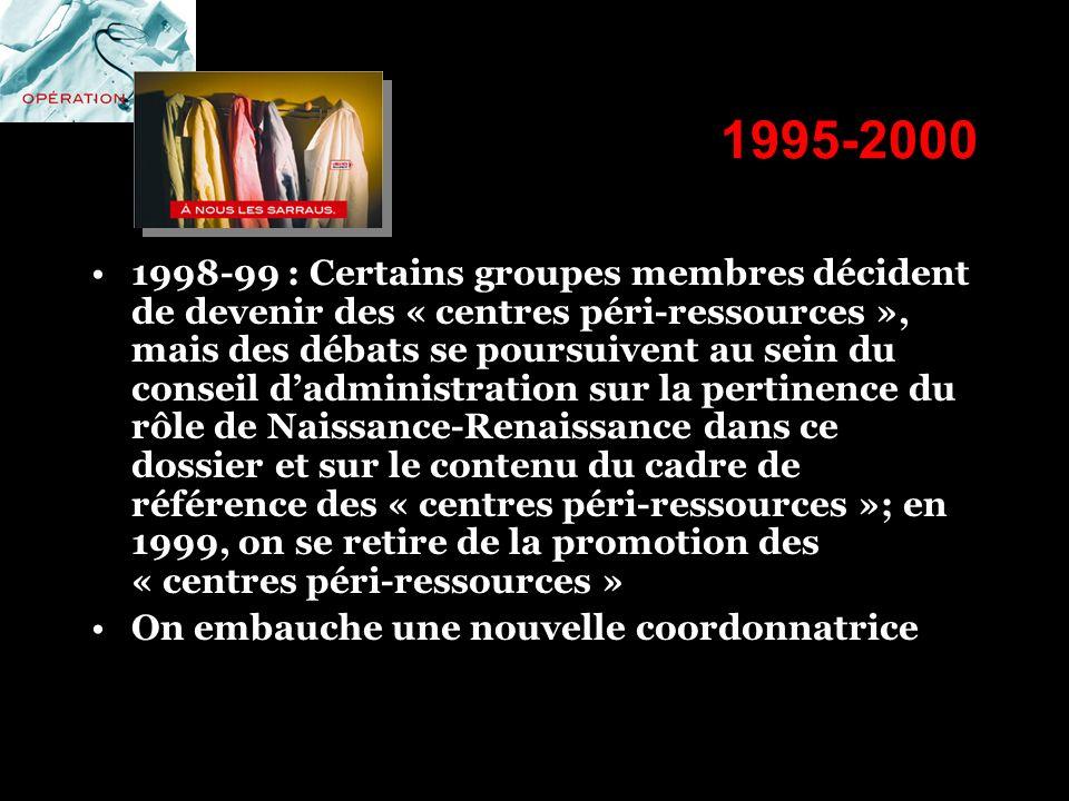 1995-2000 1998-99 : Certains groupes membres décident de devenir des « centres péri-ressources », mais des débats se poursuivent au sein du conseil da
