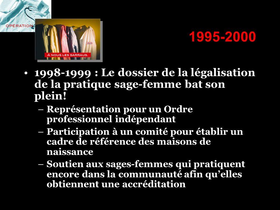 1995-2000 1998-1999 : Le dossier de la légalisation de la pratique sage-femme bat son plein! –Représentation pour un Ordre professionnel indépendant –