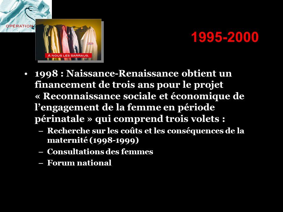1995-2000 1998 : Naissance-Renaissance obtient un financement de trois ans pour le projet « Reconnaissance sociale et économique de lengagement de la