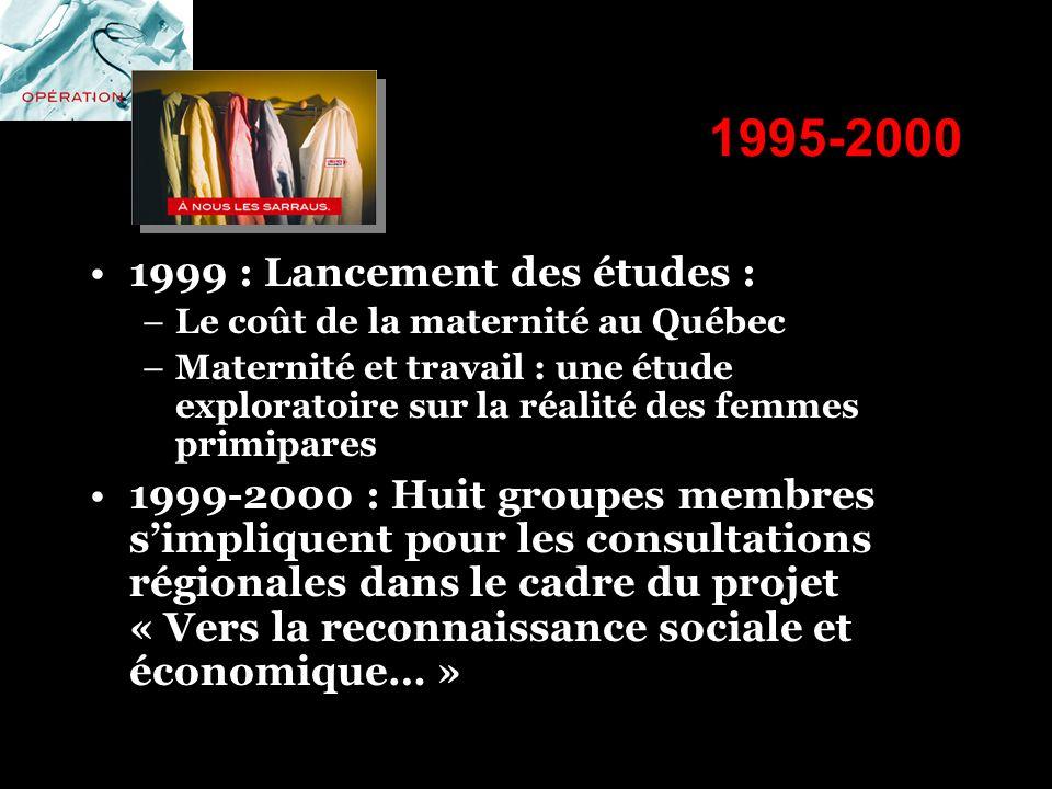 1995-2000 1999 : Lancement des études : –Le coût de la maternité au Québec –Maternité et travail : une étude exploratoire sur la réalité des femmes pr
