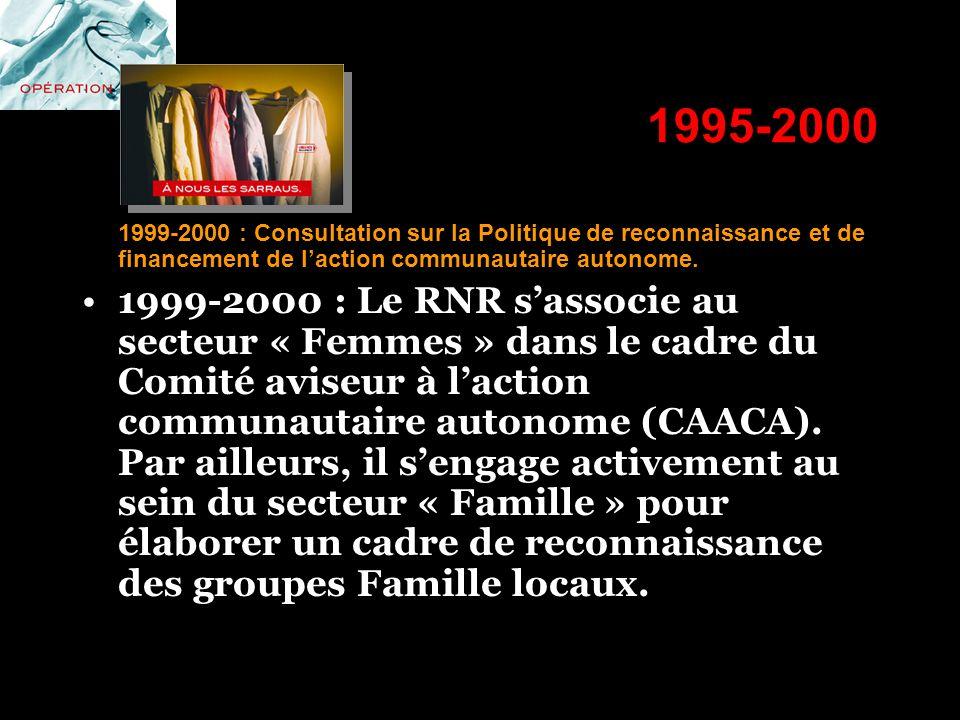 1995-2000 1999-2000 : Consultation sur la Politique de reconnaissance et de financement de laction communautaire autonome. 1999-2000 : Le RNR sassocie