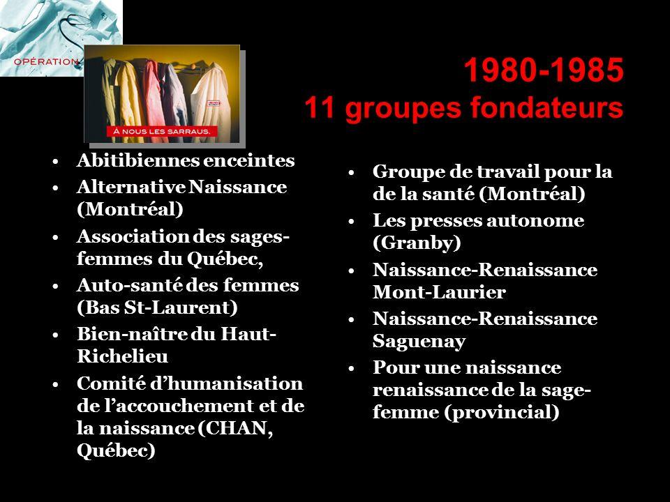 1980-1985 11 groupes fondateurs Abitibiennes enceintes Alternative Naissance (Montréal) Association des sages- femmes du Québec, Auto-santé des femmes