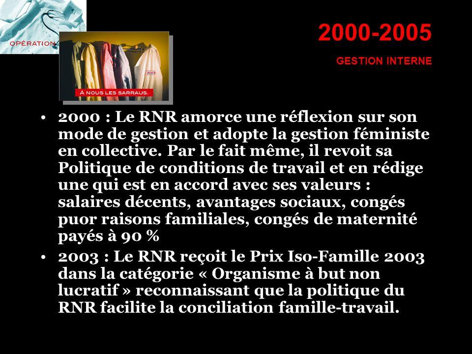 2000-2005 GESTION INTERNE 2000 : Le RNR amorce une réflexion sur son mode de gestion et adopte la gestion féministe en collective. Par le fait même, i