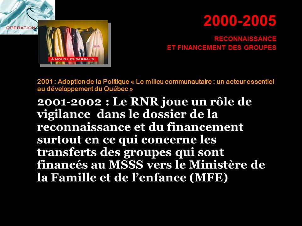 2000-2005 RECONNAISSANCE ET FINANCEMENT DES GROUPES 2001 : Adoption de la Politique « Le milieu communautaire : un acteur essentiel au développement d