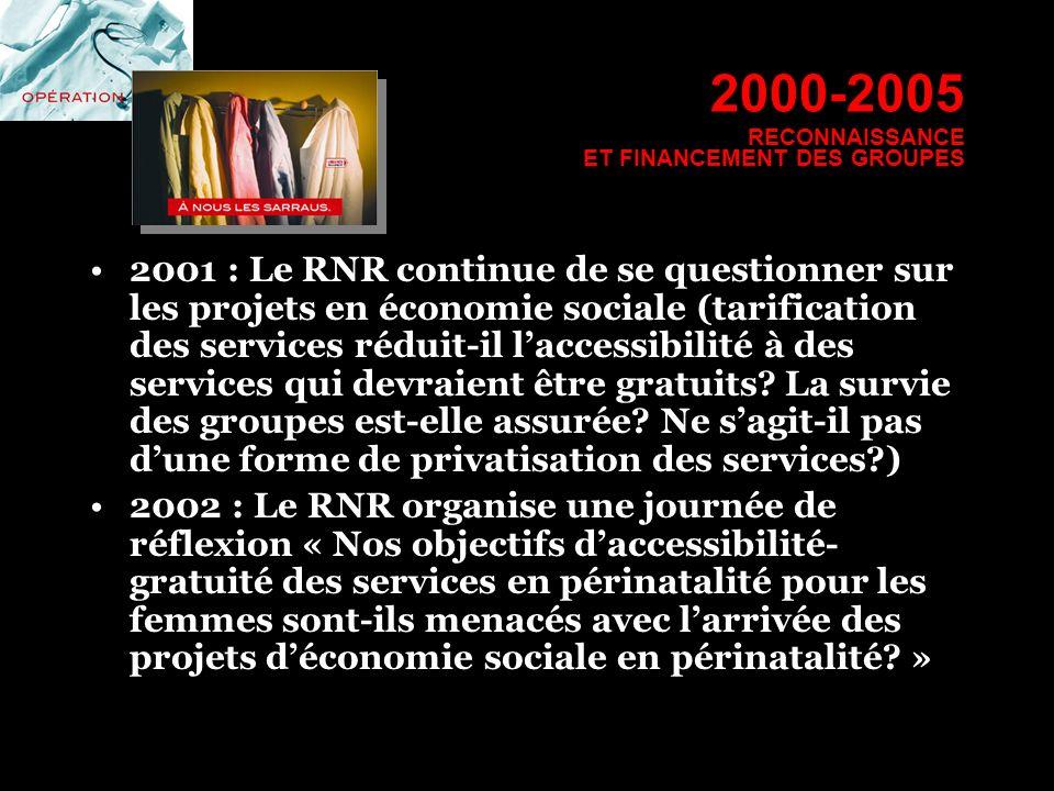 2000-2005 RECONNAISSANCE ET FINANCEMENT DES GROUPES 2001 : Le RNR continue de se questionner sur les projets en économie sociale (tarification des ser