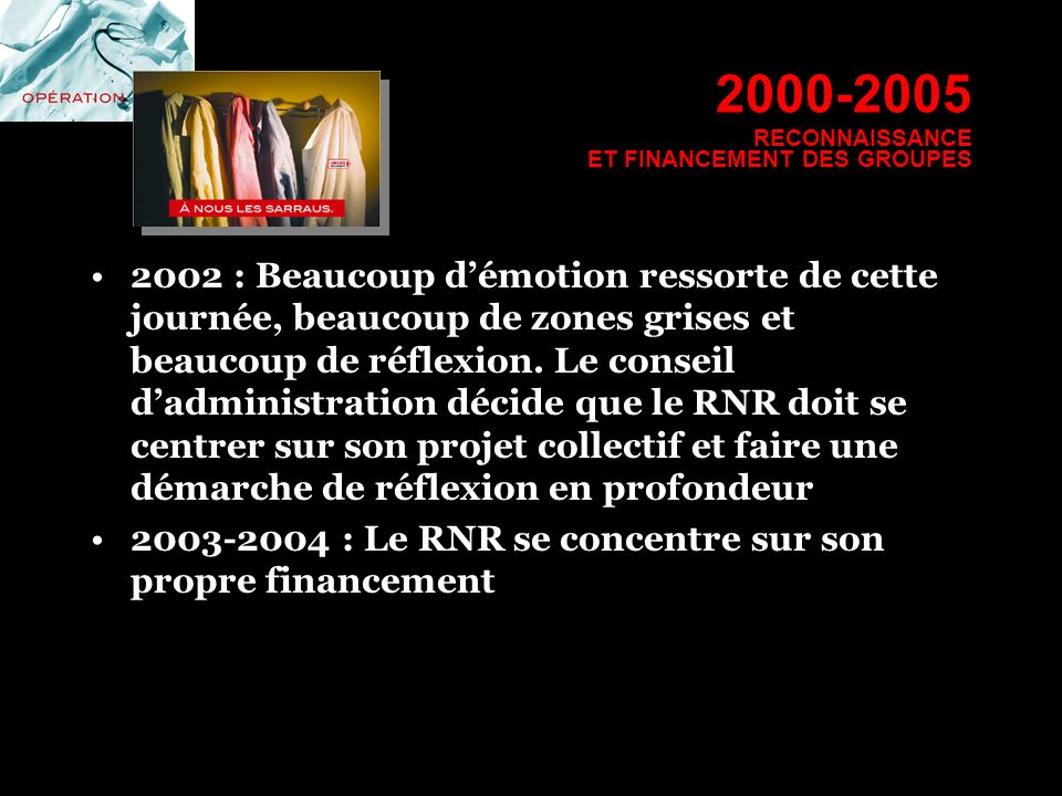 2000-2005 RECONNAISSANCE ET FINANCEMENT DES GROUPES 2002 : Beaucoup démotion ressorte de cette journée, beaucoup de zones grises et beaucoup de réflex