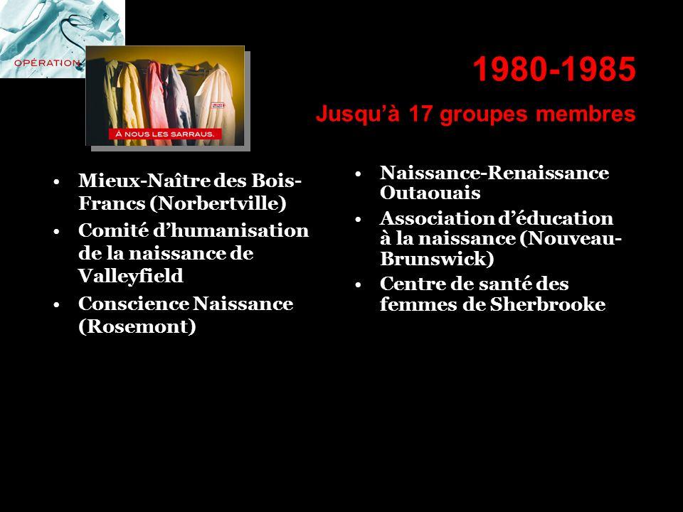 1980-1985 Jusquà 17 groupes membres Mieux-Naître des Bois- Francs (Norbertville) Comité dhumanisation de la naissance de Valleyfield Conscience Naissa