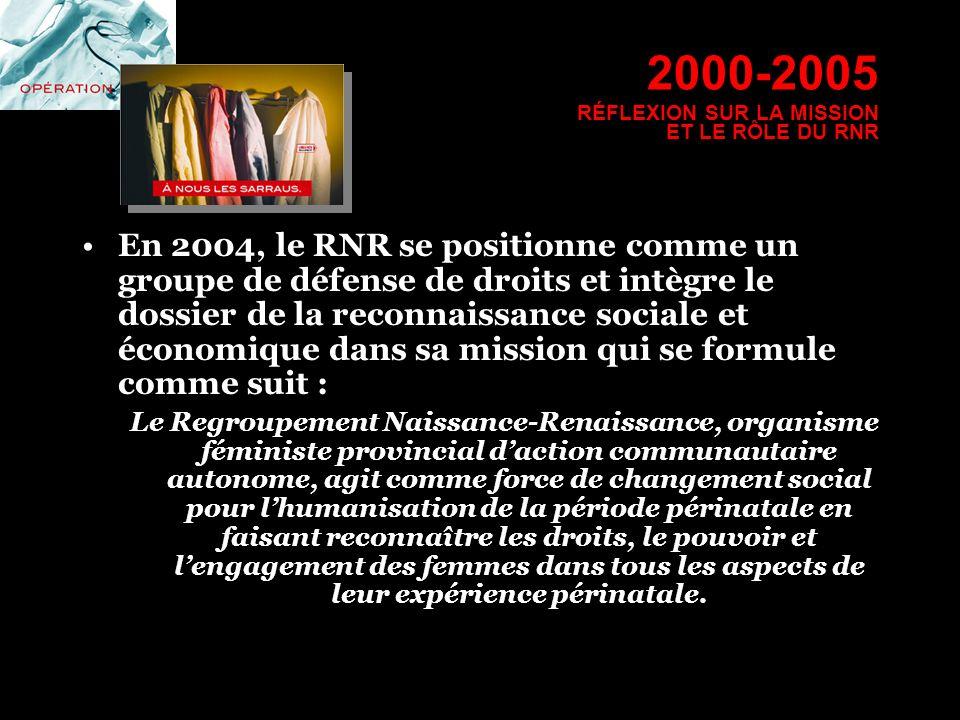 2000-2005 RÉFLEXION SUR LA MISSION ET LE RÔLE DU RNR En 2004, le RNR se positionne comme un groupe de défense de droits et intègre le dossier de la re
