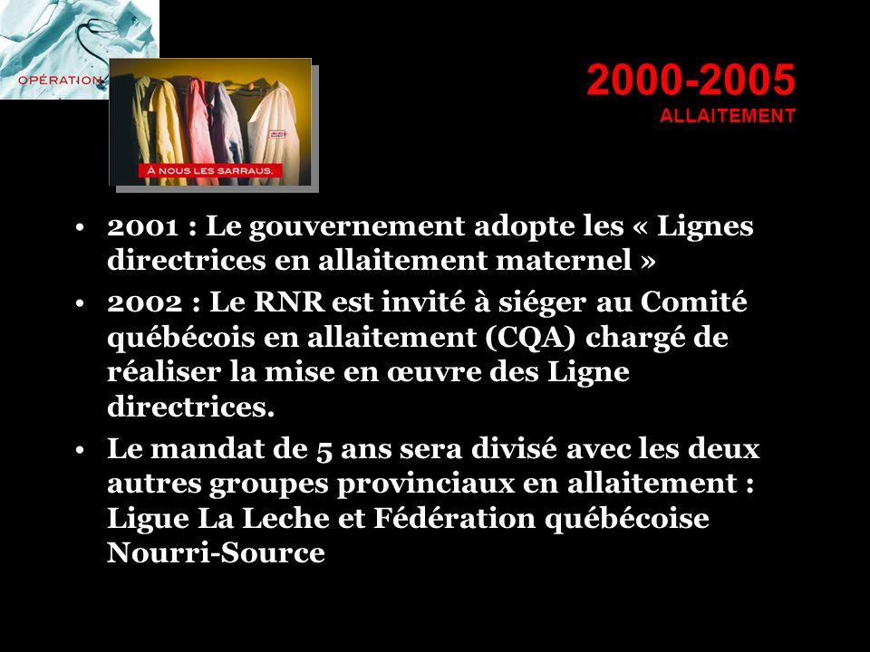 2000-2005 ALLAITEMENT 2001 : Le gouvernement adopte les « Lignes directrices en allaitement maternel » 2002 : Le RNR est invité à siéger au Comité qué