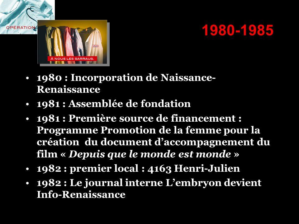 1980-1985 1980 : Incorporation de Naissance- Renaissance 1981 : Assemblée de fondation 1981 : Première source de financement : Programme Promotion de