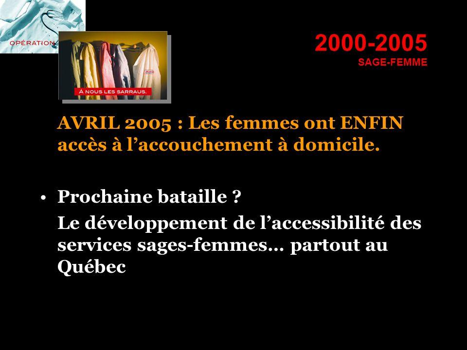 2000-2005 SAGE-FEMME AVRIL 2005 : Les femmes ont ENFIN accès à laccouchement à domicile. Prochaine bataille ? Le développement de laccessibilité des s