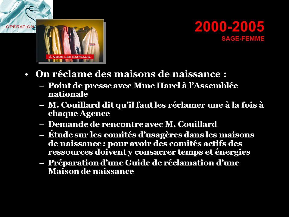 2000-2005 SAGE-FEMME On réclame des maisons de naissance : –Point de presse avec Mme Harel à lAssemblée nationale –M. Couillard dit quil faut les récl