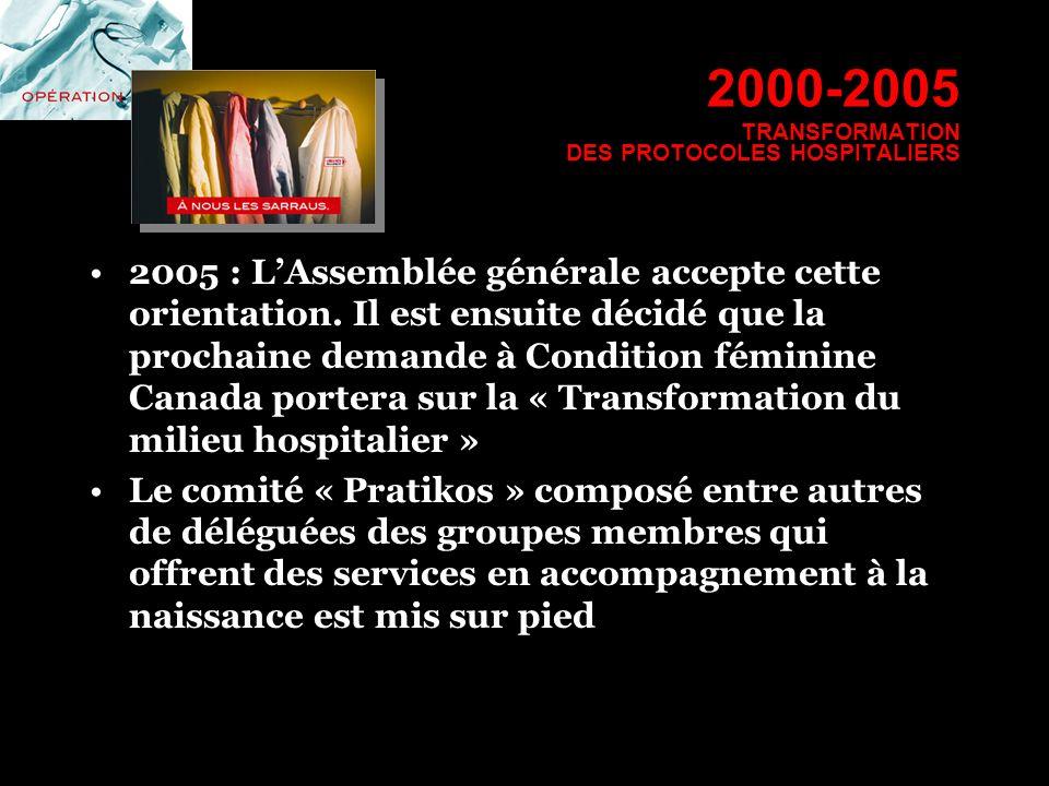 2000-2005 TRANSFORMATION DES PROTOCOLES HOSPITALIERS 2005 : LAssemblée générale accepte cette orientation. Il est ensuite décidé que la prochaine dema