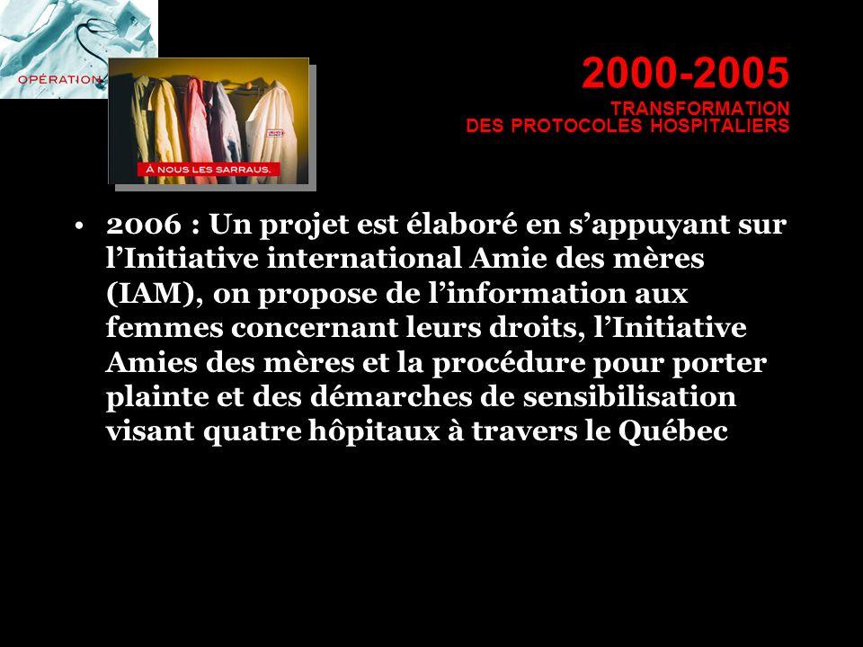 2000-2005 TRANSFORMATION DES PROTOCOLES HOSPITALIERS 2006 : Un projet est élaboré en sappuyant sur lInitiative international Amie des mères (IAM), on
