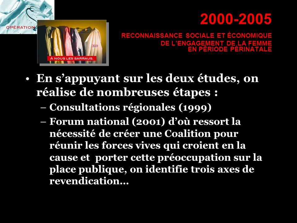 2000-2005 RECONNAISSANCE SOCIALE ET ÉCONOMIQUE DE LENGAGEMENT DE LA FEMME EN PÉRIODE PÉRINATALE En sappuyant sur les deux études, on réalise de nombre
