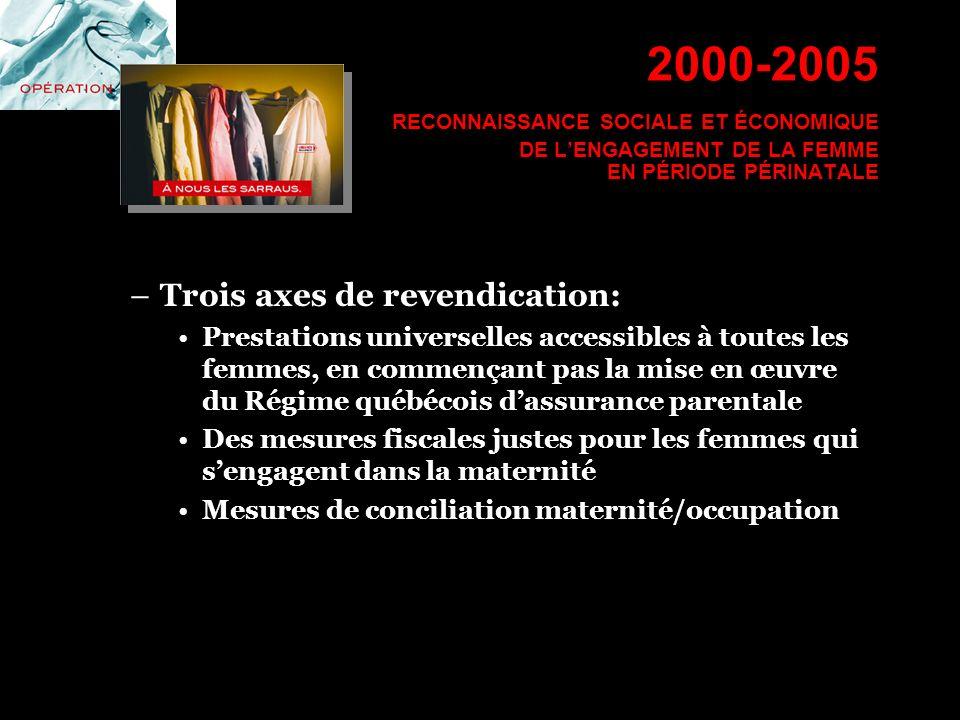 –Trois axes de revendication: Prestations universelles accessibles à toutes les femmes, en commençant pas la mise en œuvre du Régime québécois dassura