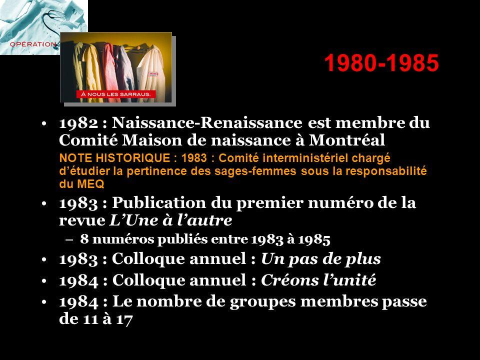 1980-1985 1982 : Naissance-Renaissance est membre du Comité Maison de naissance à Montréal NOTE HISTORIQUE : 1983 : Comité interministériel chargé dét