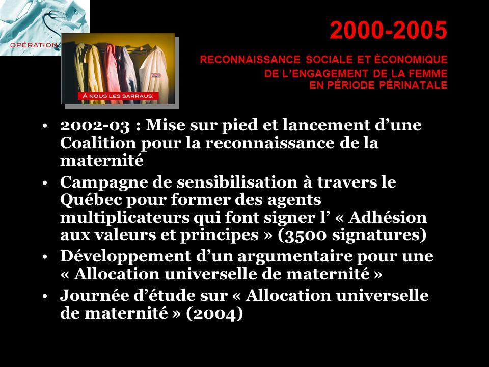 2002-03 : Mise sur pied et lancement dune Coalition pour la reconnaissance de la maternité Campagne de sensibilisation à travers le Québec pour former